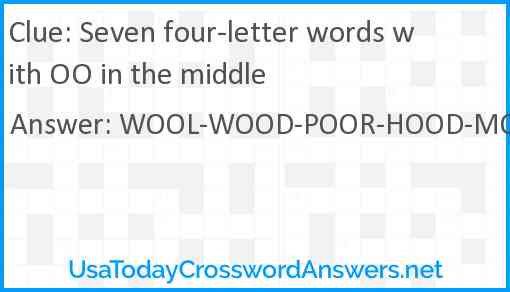 Seven four-letter words with OO in the middle Answer