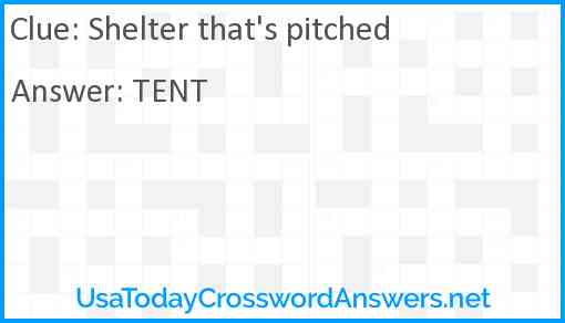 Shelter that's pitched Answer