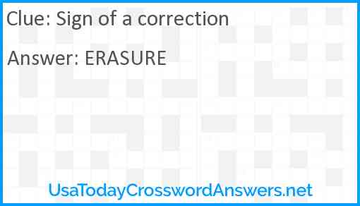 Sign of a correction Answer