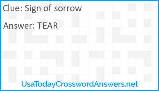 Sign of sorrow Answer