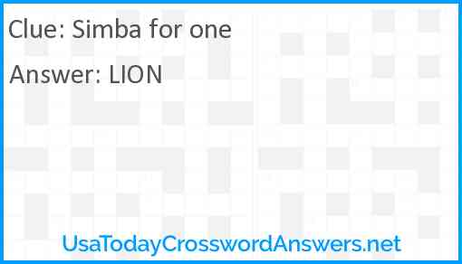 Simba for one Answer