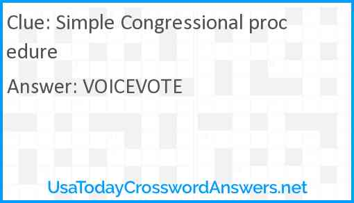 Simple Congressional procedure Answer