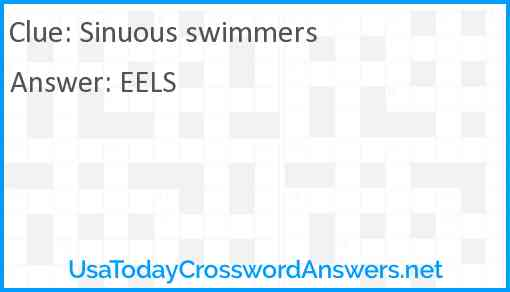 Sinuous swimmers Answer
