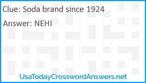 Soda brand since 1924 Answer
