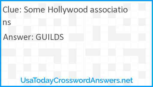 Some Hollywood associations Answer