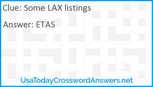 Some LAX listings Answer