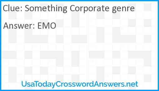 Something Corporate genre Answer