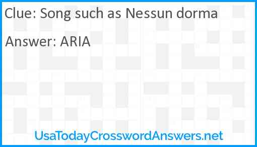 Song such as Nessun dorma Answer