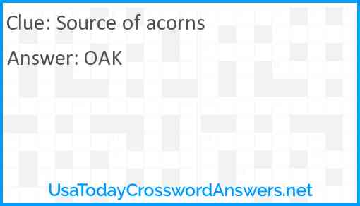 Source of acorns Answer