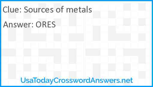 Sources of metals Answer
