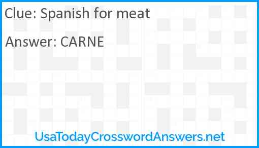 Spanish for meat Answer