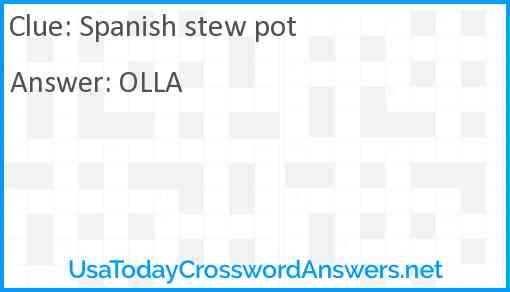 Spanish stew pot Answer
