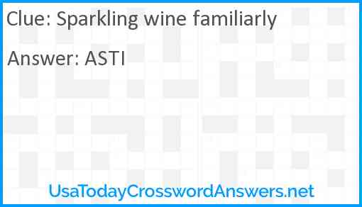 Sparkling wine familiarly Answer