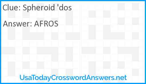 Spheroid 'dos Answer