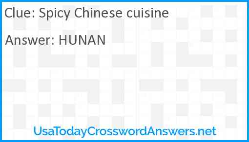 Spicy Chinese cuisine Answer