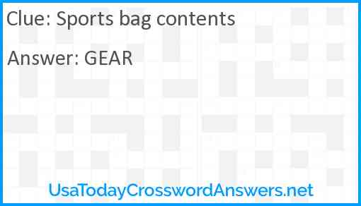 Sports bag contents Answer