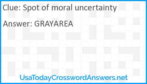 Spot of moral uncertainty Answer