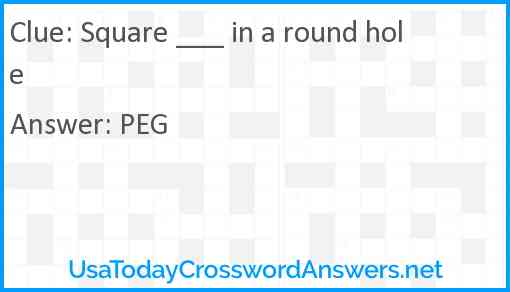 Square ___ in a round hole Answer