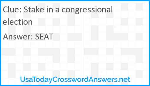 Stake in a congressional election Answer