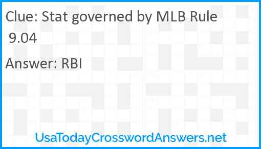 Stat governed by MLB Rule 9.04 Answer