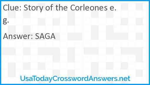 Story of the Corleones e.g. Answer