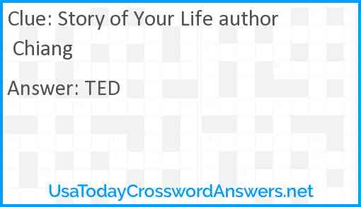 Story of Your Life author Chiang Answer