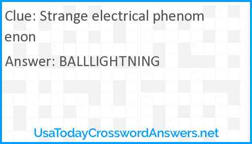 Strange electrical phenomenon Answer