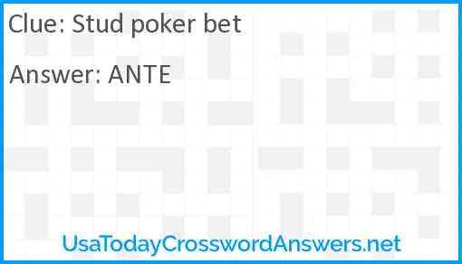 Stud poker bet Answer