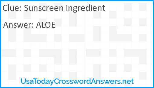 Sunscreen ingredient Answer