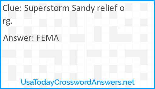 Superstorm Sandy relief org. Answer