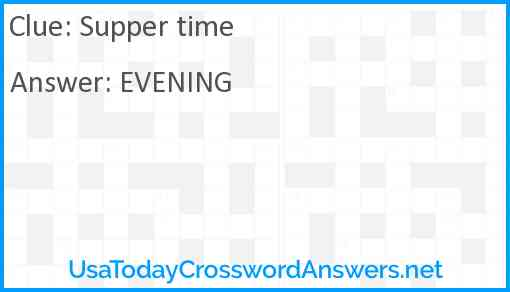 Supper time Answer