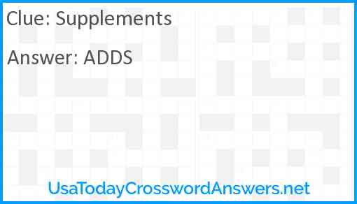 Supplements Answer