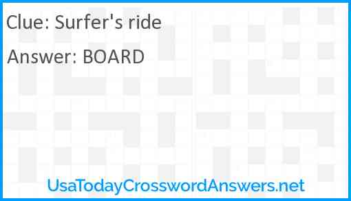 Surfer's ride Answer
