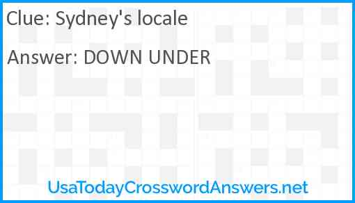 Sydney's locale Answer