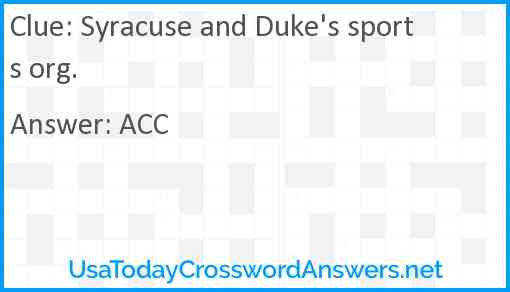 Syracuse and Duke's sports org. Answer