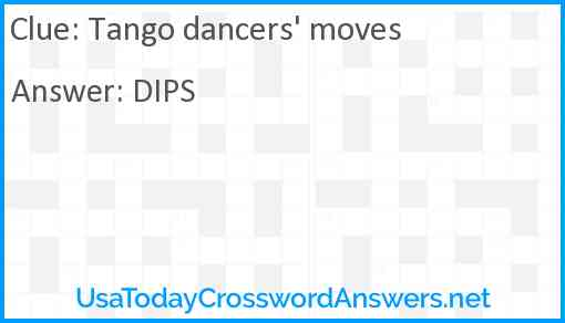 Tango dancers' moves Answer