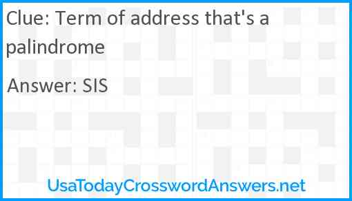 Term of address that's a palindrome Answer