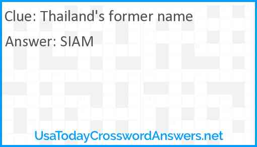 Thailand's former name Answer