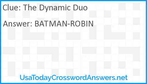 The Dynamic Duo Answer