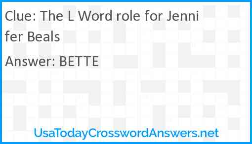 The L Word role for Jennifer Beals Answer