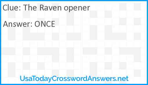 The Raven opener Answer