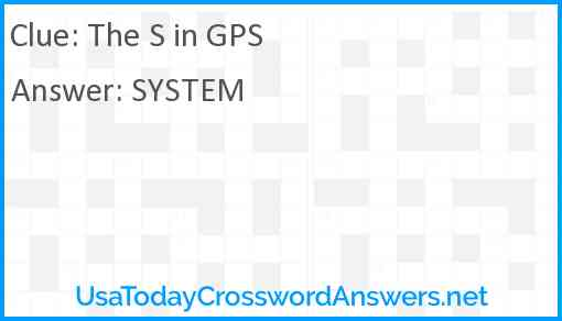 The S in GPS Answer