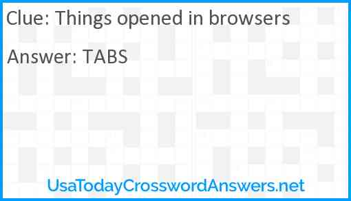 Things opened in browsers Answer