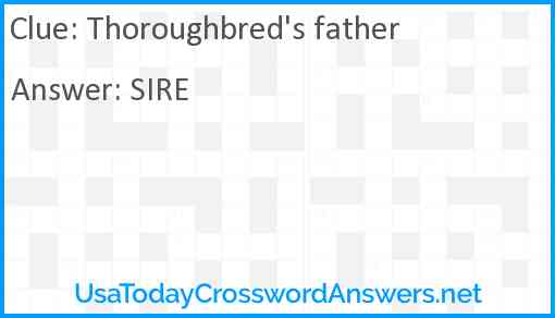 Thoroughbred's father Answer