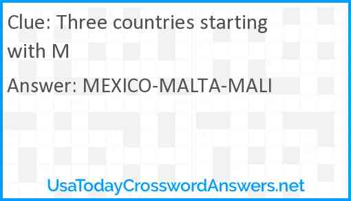 Three countries starting with M Answer