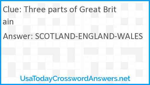 Three parts of Great Britain Answer
