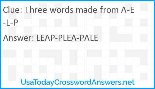 Three words made from A-E-L-P Answer