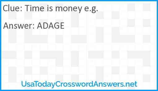 Time is money e.g. Answer