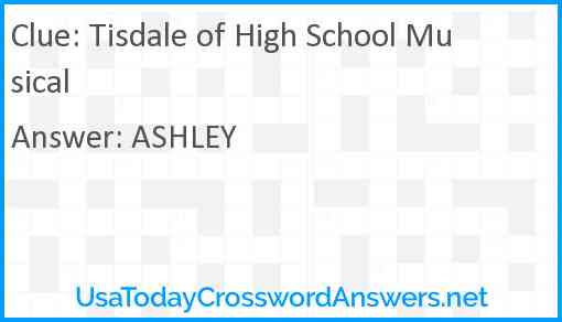 Tisdale of High School Musical Answer
