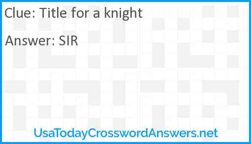 Title for a knight Answer